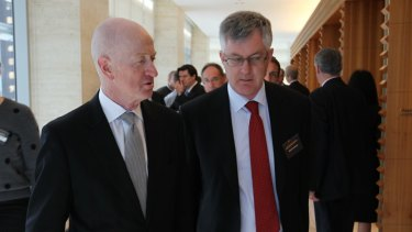 RBA governor Glenn Stevens with former Treasury secretary Martin Parkinson in August.