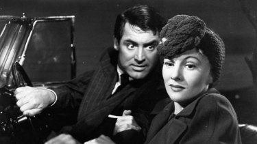 Cary Grant and Joan Fontaine in Alfred Hitchcock's 1941 domestic thriller Suspicion.