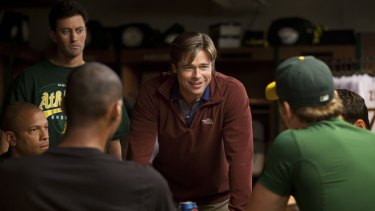 Brad Pitt plays Billy Beane, the general manager of the Oakland A's baseball team, in the 2011 movie <i>Moneyball</i>.