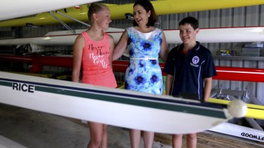 Opposition Leader Annastascia Palaszczuk speaks with locals at the Rockhampton Fitzroy Rowing Shed.