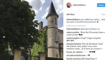 Heidi Middleton instagram post of her French Castle. Photo: @bidemiddleton on Instagram