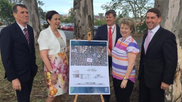 At the Prince Charles Hospital for the announcement of a new mental health facility for young Queenslanders were (from left) local MP Dr Anthony Lynham, Premier Annastacia Palaszczuk, policy officer Greg Fowler, Jeannine Kimber and Health Minister Cameron Dick.