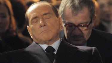 "Former Italian Premier Silvio Berlusconi, foreground, who praised Benito Mussolini for ""having done good""."