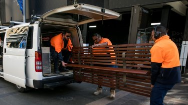 The council also removed bench seating from Martin Place on Saturday.