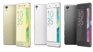 Sony's new Xperia X (left) alongside lower- and higher-powered versions (the XA and X Performance). Each phone comes in white, black, pink or gold.