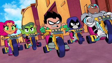 The Teen Titans are Starfire, Beast Boy, Robin Raven and Cyborg.