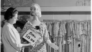 Decimal conversion promo picture from 1966 showing the two prices for a dress.