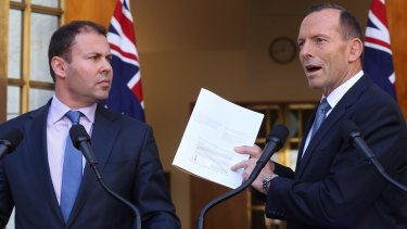 Josh Frydenberg with then prime minister Tony Abbott in 2015.