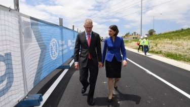 NSW Premier Gladys Berejiklian and federal Urban Infrastructure Minister Paul Fletcher at a section of WestConnex in Homebush.