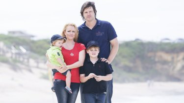 Former Test cricket player Nathan Bracken with his wife Haley and boys Tag (left) and Chase.