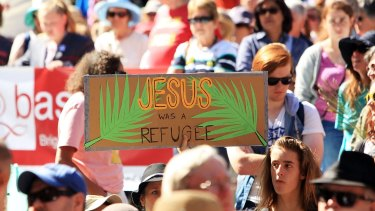 Protesters their point during the Palm Sunday March in Melbourne.