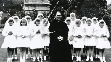 Convicted paedophile Gerald Ridsdale at the old Nazareth house girls' home in Ballarat in 1963.