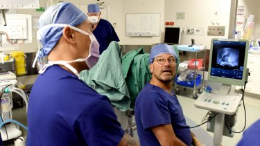 A new, less-invasive procedure for getting rid of prostate cancer being performed at St Vincent's Hospital by Professor Phillip Stricker.