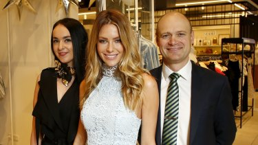 Myer chief executive Richard Umbers (right) with Warringah store manager Alexis Pead (left) and Myer ambassador Jennifer Hawkins.