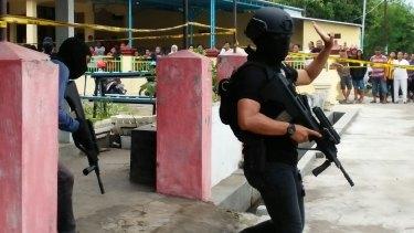 A terrorist raid in Mojokerto, East Java, Indonesia, in December, 2015.