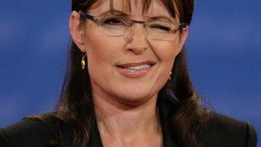 Republican vice presidential candidate  Sarah Palin winks during the 2008 debate against Joe Biden.