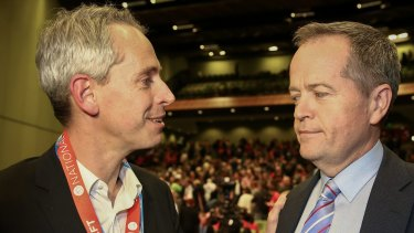 Labor MP Andrew Giles with Opposition Leader Bill Shorten at Labor's national conference in 2015