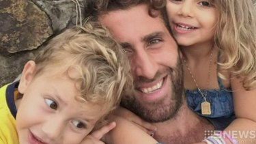 Staying in Beirut: Ali Elamine with his children Noah and Lahela.