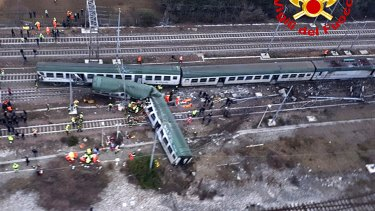 An aerial view shows the derailed train at the station of Pioltello Limito, on the outskirts of Milan.