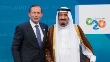 Tony Abbott welcomes then crown prince Salman to the G20 Leaders' Summit in Brisbane in November 2014. Two months later Salman would ascend to the throne.