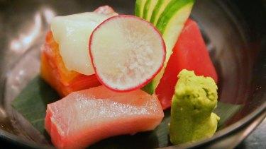 The sashimi at Shoya restaurant.