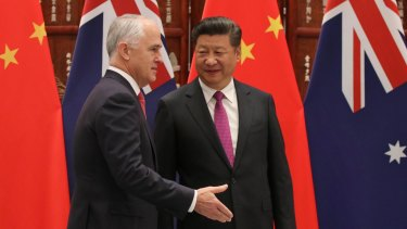 Chinese President Xi Jiping welcomes Australian Prime Minister Malcolm Turnbull at the G20 summit in Hangzhou, China last year.