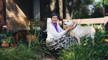 Dr Sue Wareham OAM with her dog, Tipsy.