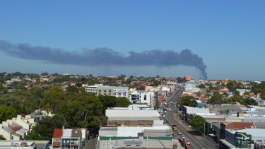 Smoke from the Chullora factory fire in western Sydney, as seen from Camperdown.