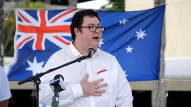 George Christensen speaks at a Reclaim Australia rally in Mackay on July 19.