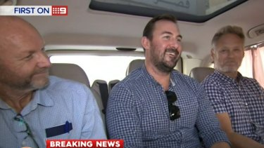 The 60 Minutes crew, Stephen Rice, Ben Williamson and David Ballment, following their release from a Lebanon jail.