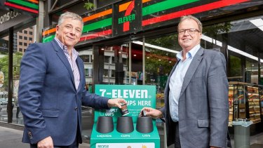 7-Eleven chief executive Angus McKay and Simply Cups' Rob Pascoe with one of the new recycling bins