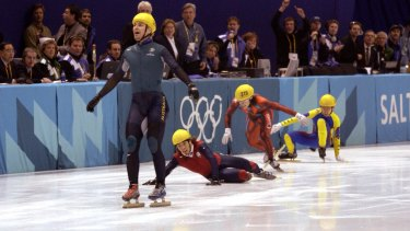 Steven Bradbury skated to Olympic victory as rivals  crashed out.