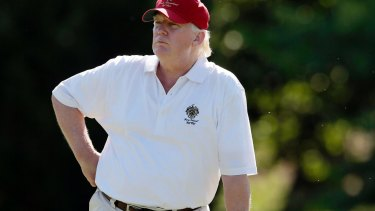US President Donald Trump on the golf links.