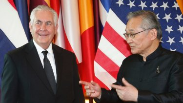 US Secretary of State Rex Tillerson, left, talks with Thai Foreign Minister Don Pramudwinai at the Foreign Ministry in Bangkok.