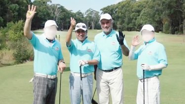 Chinese-Australian media tycoon Tommy Jiang, second from left, and member for Bennelong John Alexander, second from right, at the 2016 NSW Harmony Cup Golf Tournament.