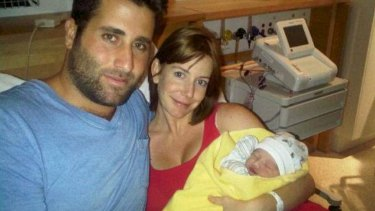 Sally Faulkner with her estranged husband Ali Elamine and their daughter Lahala at birth.