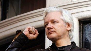 Julian Assange outside the Ecuadorian embassy in London in May.
