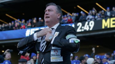 Collingwood president Eddie McGuire at the 'Big Freeze 2' charity event last year. He came under fire for saying he would pay $50,000 to see The Age's chief football writer Caroline Wilson stay under a pool of ice water.