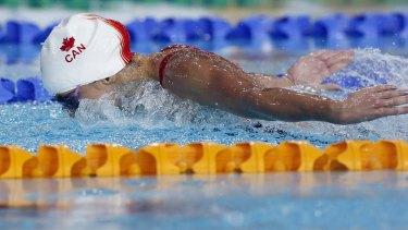 Faster than ever before: Lacroix powered home to win the 200m butterfly.