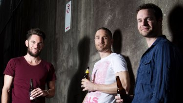 left to right) Andy Williamson, Mark Woollcott, and Alex Gale from Beer Bud: crowdfunding again.