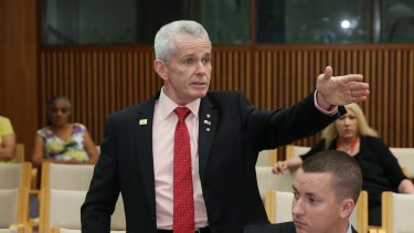 Senator Malcolm Roberts during a press conference at Parliament House Canberra on Tuesday.