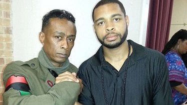 Micah Xavier Johnson, right, with Professor Griff of Public Enemy who denies knowing him.