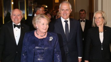 Prime Minister Malcolm Turnbull and his wife Lucy with John and Janette Howard at the dinner in Sydney.