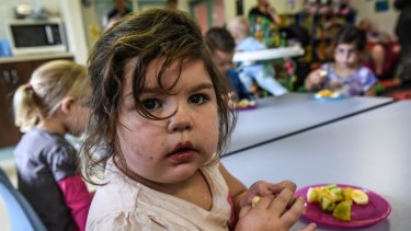A child at the Koolyangarra Aboriginal child and family centre in Cranebrook.