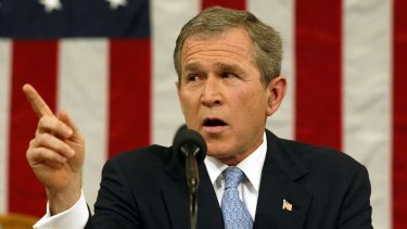Then-US President George W. Bush gives his 'axis of evil' speech in Congress in 2002.