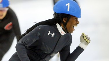 Full speed: Many are predicting Maame Biney will become a star of the speedskating world.