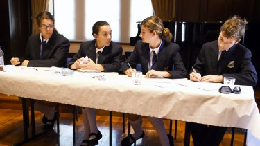Norfolk students competing in the debating championships (from left): Ashley Kytola, Joni King, Ruby Ciantar and Harrison Hayes.