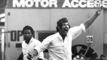 Larrikin legend: Max Walker appeals during a Test against the West Indies in 1977.