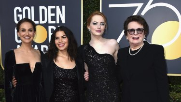 America Ferrera, from left, Natalie Portman, Emma Stone and Billie Jean King arrive at the 75th annual Golden Globe Awards at the Beverly Hilton Hotel on Sunday, Jan. 7, 2018, in Beverly Hills, Calif. (Photo by Jordan Strauss/Invision/AP)