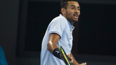 Angry exchange: Nick Kyrgios challenges the umpire.